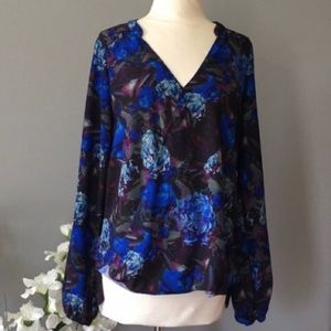 EIGHT SIXTY floral blue blouse stitch fix M career